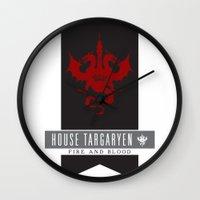 targaryen Wall Clocks featuring House Targaryen Sigil V2 by P3RF3KT