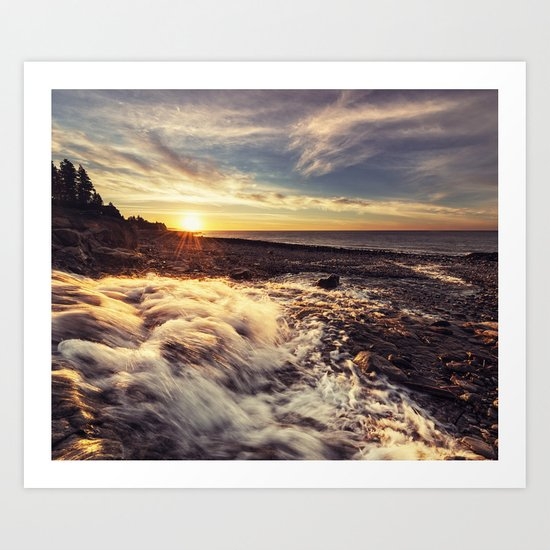 Streaming into the Sunset Art Print