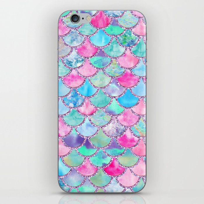 Colorful Pink and Blue Watercolor Trendy Glitter Mermaid Scales  iPhone Skin