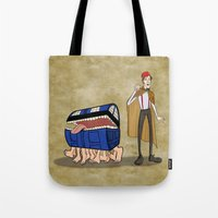 discworld Tote Bags featuring A Docctor and his Luggage by Nana Leonti