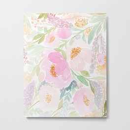 Peach Garden Floral Watercolor Metal Print