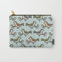 Cute Mama Birds Heart Love Blue and Pink Carry-All Pouch