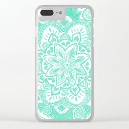 turquoise floral mandala Clear iPhone Case