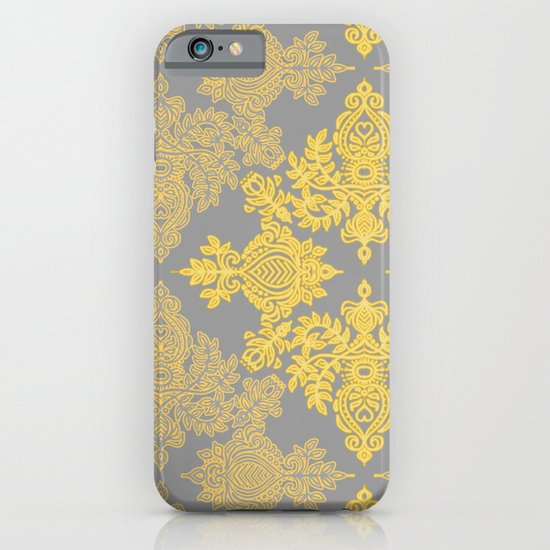 Golden Folk - doodle pattern in yellow & grey iPhone & iPod Case