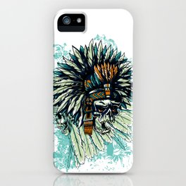 AZTEC WARRIOR SKULL SQUARE iPhone Case