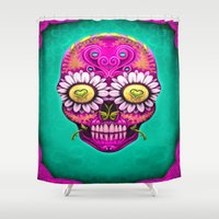 sugar skull Shower Curtains featuring Sugar Skull by Mr Grin