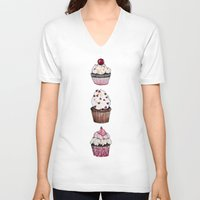 cupcakes V-neck T-shirts featuring Cupcakes by Natalie Murray