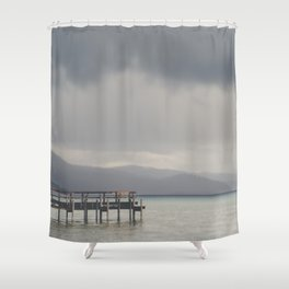 waiting for the storm to pass over Lake Tahoe ... Shower Curtain
