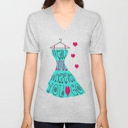 Wear Love Wherever You Go (aqua) Unisex V-Neck