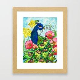 peacock and flowers Framed Art Print