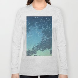 In the night - George Auriol - 1904 Sky Tree Firefly Silhouette Blue Turquoise Ombre Long Sleeve T-shirt