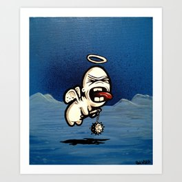 Angry Cupid with Flail Art Print