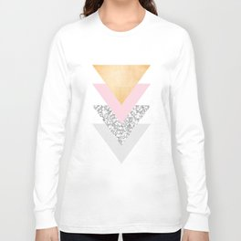 Geometric Triangles - Gold Pink and Marble Long Sleeve T-shirt