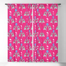 Abstract cut out bird bell flower shapes. Blackout Curtain