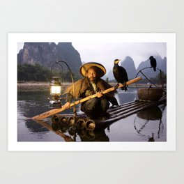 Cormorant Fisherman, Guilin, China Art Print