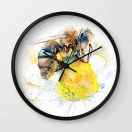 the honey bee and the daisy Wall Clock
