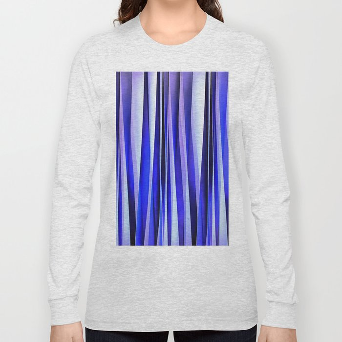 Peace and Harmony Blue Striped Abstract Pattern Long Sleeve T-shirt