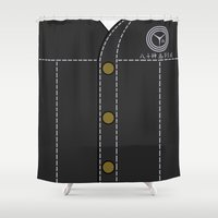 persona Shower Curtains featuring Persona 4 Yosuke Hanamura Uniform by Bunny Frost
