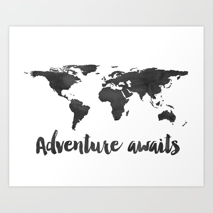 Printable Adventure Awaits World Map Poster, Navy Travel Quote Print, JPG  File, Instant Download Art Print by typodesign