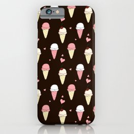 Cute ice cream pattern with small hearts iPhone Case