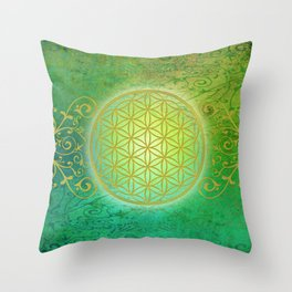 Flower Of Life Vintage gold green Throw Pillow