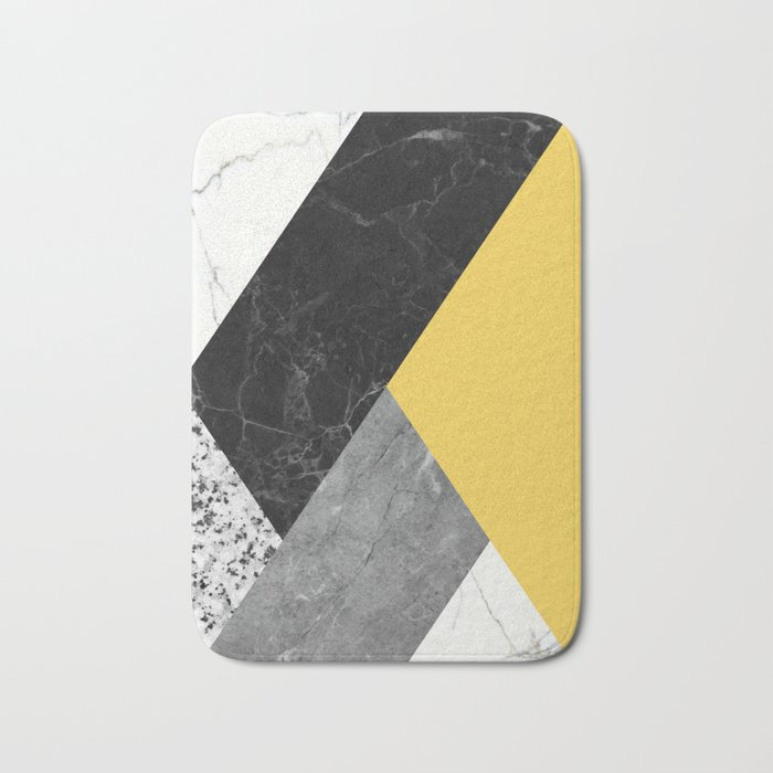 Black and White Marbles and Pantone Primrose Yellow Color Bath Mat