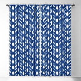 Indigo Geometric Shibori Pattern - Blue Chevrons on White Blackout Curtain