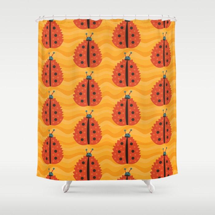 Orange Ladybug Autumn Leaf Shower Curtain By Borianagiormova