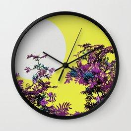 Yellow sky and rowan tree Wall Clock