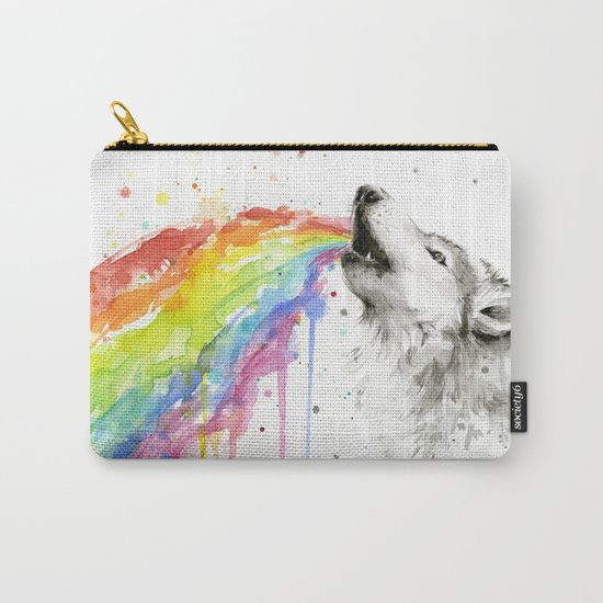 Wolf Rainbow Watercolor Animal Carry-All Pouch