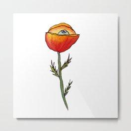 All Seeing Poppy Flower Metal Print