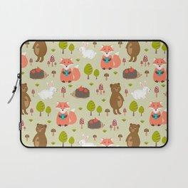 Hand drawn modern coral white green autumn animal Laptop Sleeve