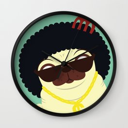 Pug in bling Wall Clock