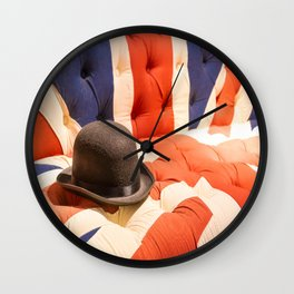 Black Bowler Hat on Union Jack Chesterfield Sofa Wall Clock