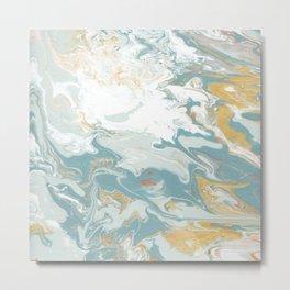 Marble - Grey, Blue, & White Metal Print