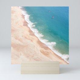 Bird's eye view of the ocean beach. Nazare. Portugal Mini Art Print