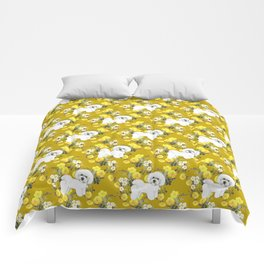 Bichon Frise on Yellow Rose Floral Autumn Gold Comforters