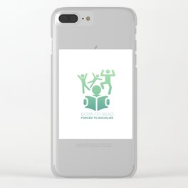 Born To read Forced To Socialize (2) Clear iPhone Case