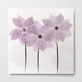 Lilac Pink Garden Star Watercolor Flowers Metal Print