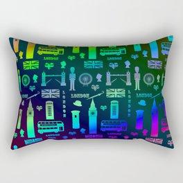 London Landmarks Digital Rainbow Hologram Rectangular Pillow