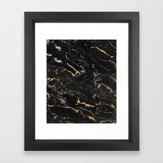 Gold Flecked Black Marble Framed Art Print