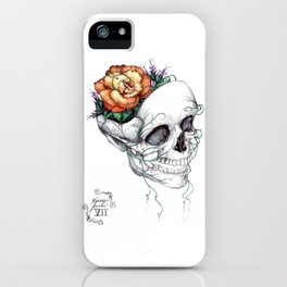Skull with Flowers Growing out of Head iPhone Case