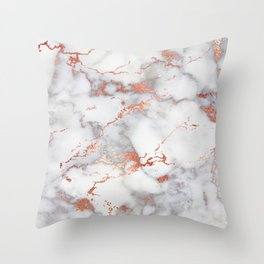 Glam stylish faux rose gold gray abstract blush chic marble Throw Pillow