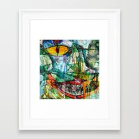 cheshire cat Framed Art Prints featuring Cheshire by Eliya Stein