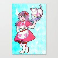 bee and puppycat Canvas Prints featuring bee & puppycat by SERAPHIC ROYALTY