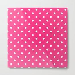 Pink & White Polka Dots Metal Print