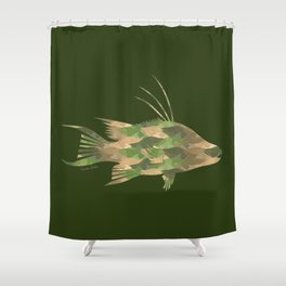 Scuba Deb's Camo Hogfish Shower Curtain