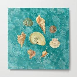 Dancing Shells Turquoise Watercolor Splashes Metal Print