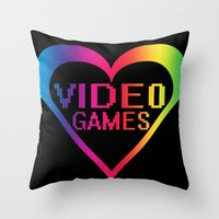 video games Throw Pillows featuring love video games by seb mcnulty