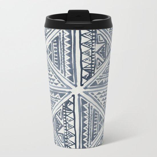 Simply Tribal Tile in Indigo Blue on Lunar Gray Metal Travel Mug